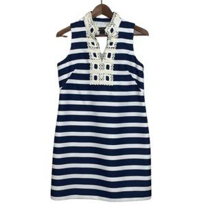 Jessica Howard Navy and White Stripe Dress 8P